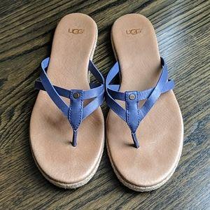 UGG leather thong flip flops